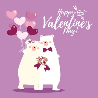 Valentinstaghintergrund mit netten eisbärpaaren.