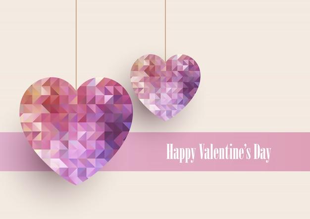 Valentinstaghintergrund mit niedrigen polyherzen