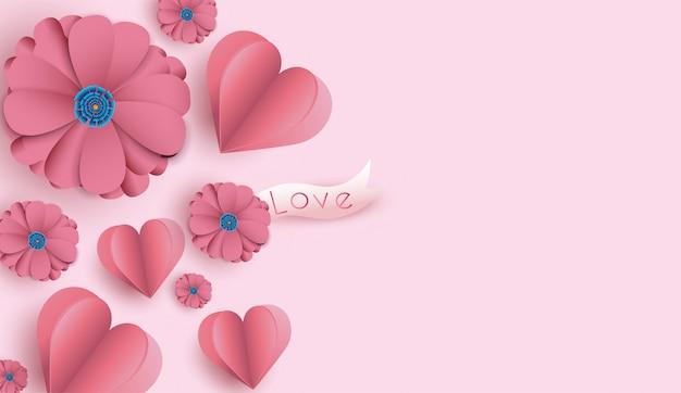 Valentinstaghintergrund mit papierschnittblumen und herzen.