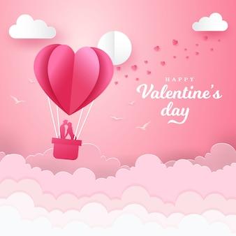 Valentinstaghintergrund mit romantischem paar, das in einem korb eines luftballons küsst und steht. papierschnittart vektorillustration