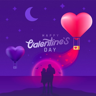 Valentinstaghintergrund mit schattenbildpaar und herzförmigen luftballons. valentinstag bei romantischem sonnenuntergang.