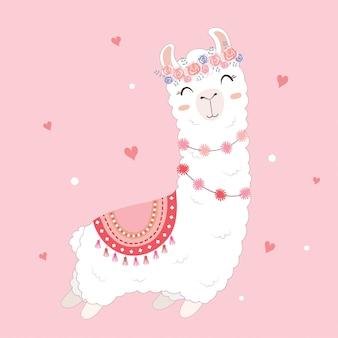 Valentinstagkarte, die ein niedliches lama kennzeichnet.