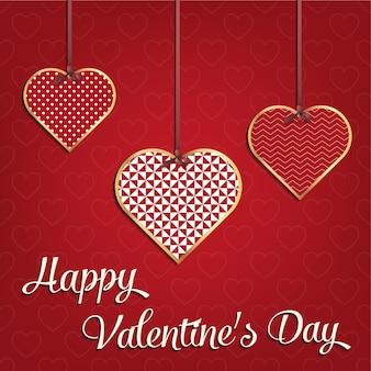 Valentinstagkarte für feiertagsschablone mit geometrischer herzillustration. kreatives und luxuriöses stilmuster