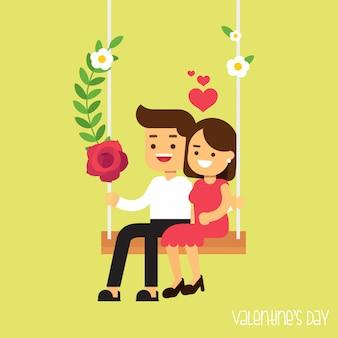 Valentinstagkarte mit einem glücklichen paar, das auf eine schaukel fährt