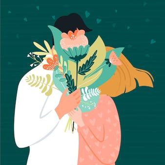 Valentinstagkarte mit glücklichem paar. mann, der seiner frau einen blumenstrauß gibt. vektor-illustration
