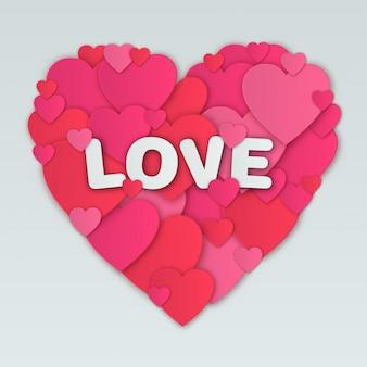 Valentinstagkarte mit herzmosaik und -beschriftung