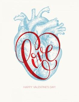 Valentinstagkarte mit menschlichem herzen und liebesbeschriftung. vektor-illustration
