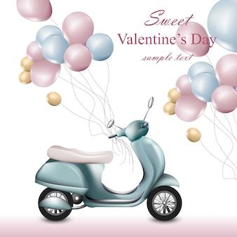 Valentinstagkarte mit roller und ballonen vektor. romantische designs der grußkarte