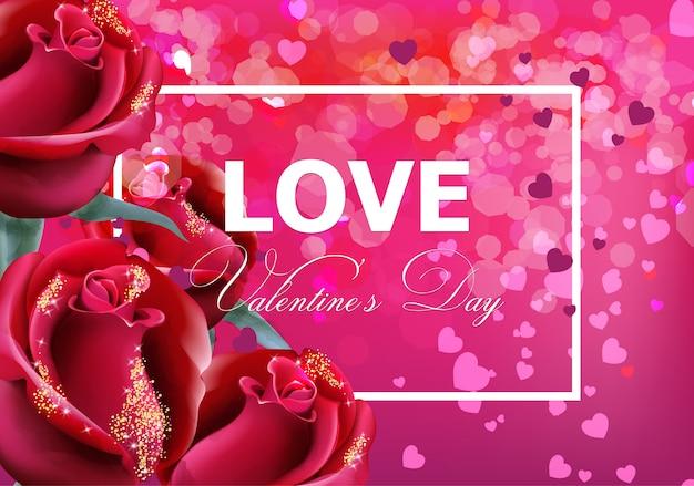 Valentinstagkarte mit roten rosen