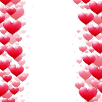 Valentinstagkarte mit zerstreuten purpurroten herzen