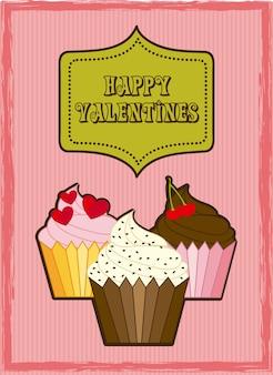 Valentinstagkarte über rosa hintergrundvektorillustration