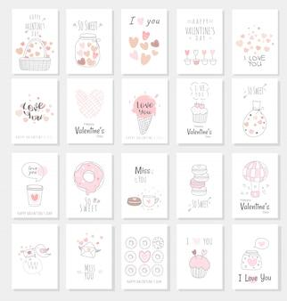 Valentinstagkartensatz mit hand gezeichneter art