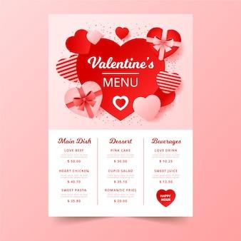 Valentinstagmenü mit schokoladenkästen