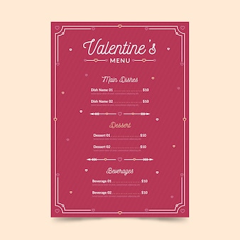 Valentinstagmenüschablone im flachen design