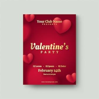 Valentinstagplakat mit einem unscharfen roten liebesballon.