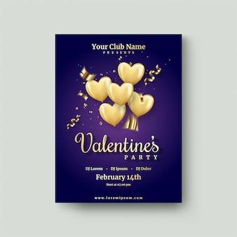 Valentinstagplakat mit goldenem liebesballon auf einem dunkelblauen