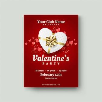 Valentinstagplakat mit roter liebesgeschenkbox auf einem rot