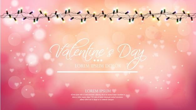 Valentinstagrosahintergrund mit lichtern