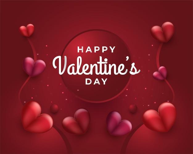 Valentinstagsgruß oder -plakat mit den roten herzen verstreut auf dem roten papierschnitthintergrund