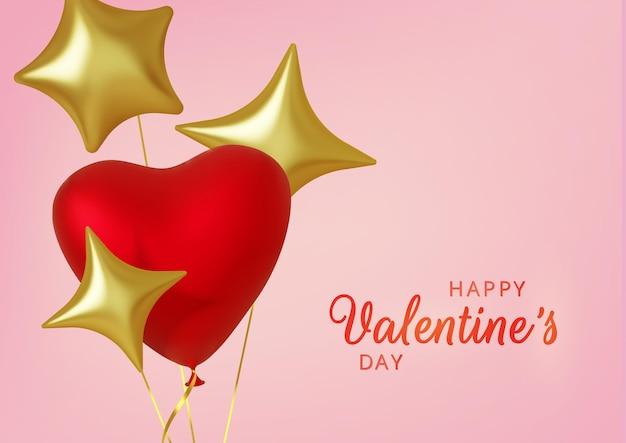 Valentinstagsgruß, realistische rosa luftballonherzen und goldene sterne auf rosa hintergrund