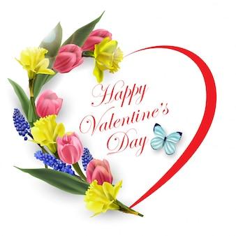 Valentinstagskarte. das herz der schönen frühlingsblumen, tulpen, narzissen. frühlingshintergrund.