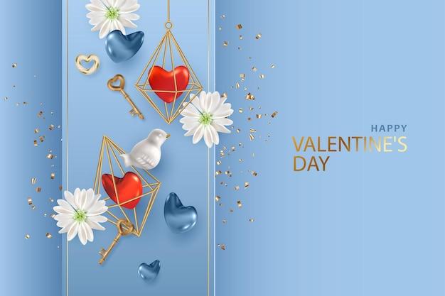 Valentinstagskarte. kreative komposition aus goldkristallformkäfig mit herz im inneren, weißem vogel, goldenen vintage-schlüsseln und blumen