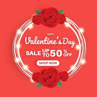Valentinstagskarte mit einer rosenschablone