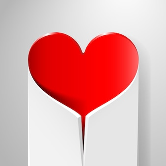 Valentinstagskarte mit eingewickeltem herzen