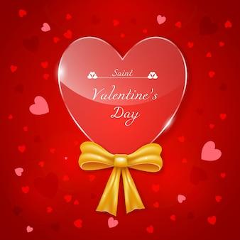 Valentinstagskarte mit glasigem herzen und realistischem bogen