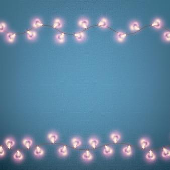 Valentinstagskarte mit leuchtenden lichtern herzform. und beinhaltet auch
