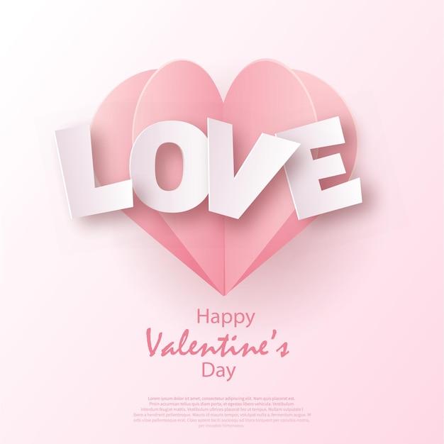 Valentinstagskarte mit rosa liebestext und herz. .