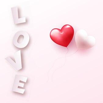 Valentinstagskarte mit rosa liebestext und paarherzen. .