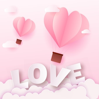 Valentinstagskarte mit rosa papierliebetext und luftballons