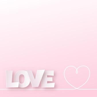 Valentinstagskarte mit rosa papierliebetext