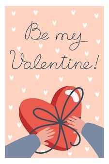 Valentinstagskarte mit schachtel pralinen in den händen im flachen stil