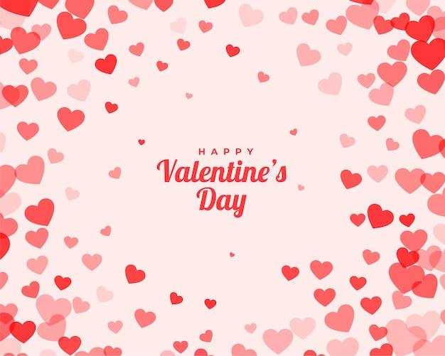 Valentinstagskarte mit verstreutem hintergrund