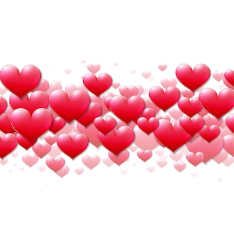 Valentinstagskarte mit verstreuten lila herzen