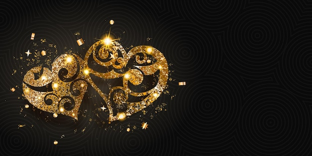 Valentinstagskarte mit zwei glänzenden herzen aus goldenem funkeln mit blendungen und schatten auf dunklem hintergrund