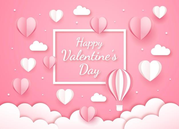 Valentinstagskarte papierschnittstil.
