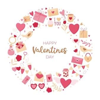 Valentinstagskarte. runde zusammensetzung verschiedener elemente auf weißem hintergrund und einer inschrift.