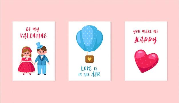 Valentinstagskarten - karikatur kawaii mädchen und junge in retro-kleidung, heißluftballon, rosa herz, schöne sätze