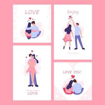 Valentinstagskartensatz. glückliches paar in der liebe. liebhaber feiern romantisches date. idee von beziehung und liebe. mann und wo, bin kuss.