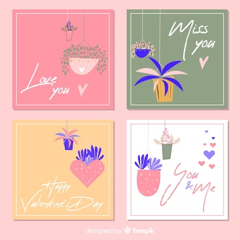 Valentinstagskartensatz
