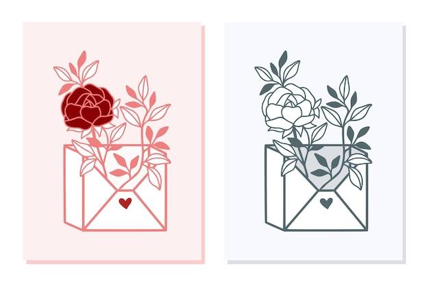 Valentinstagskartenschablone eingestellt mit rosenblume, blattzweig, herz und umschlagelementen