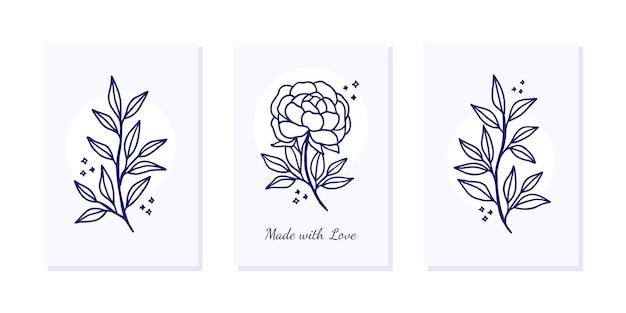 Valentinstagskartenschablone mit blumen- und blattzweig