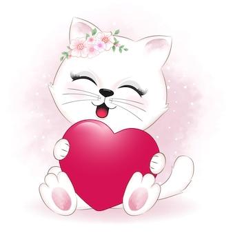 Valentinstagskonzept der kleinen katze und des herzens