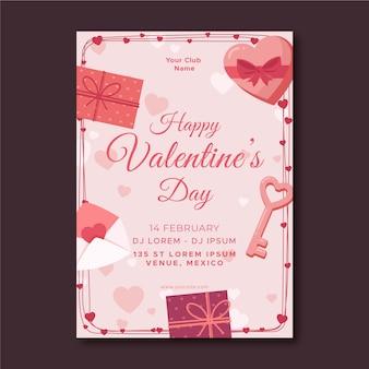 Valentinstagsparty-plakatschablone im flachen design