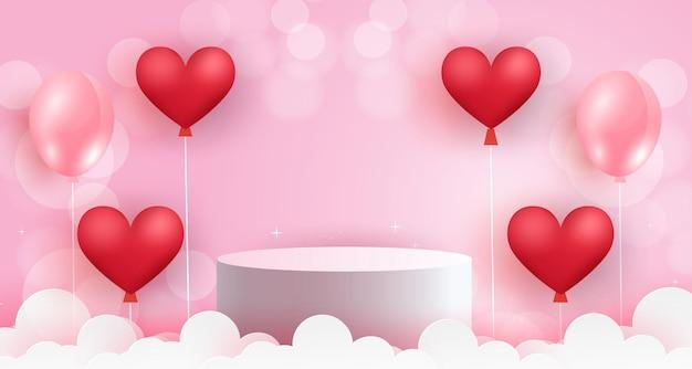 Valentinstagspodest mit herzballons