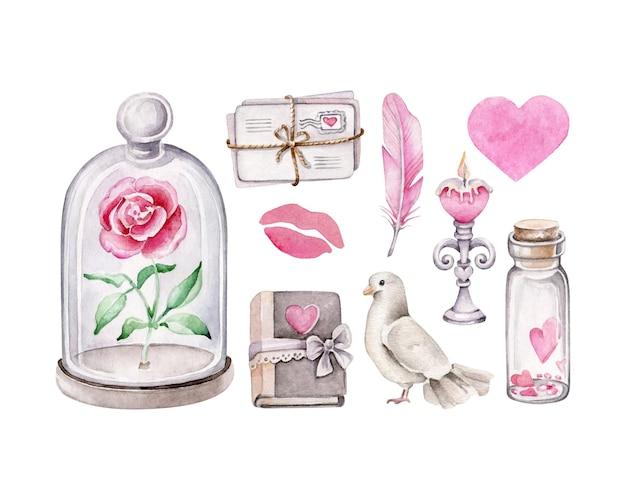 Valentinstagsset isoliert auf weiß