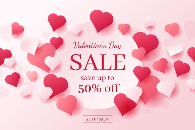 Valentinstagverkauf im flachen design